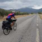 Cycling towards mountains in Peloponnese