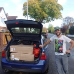 BMW 330d touring estate carrying bike boxes